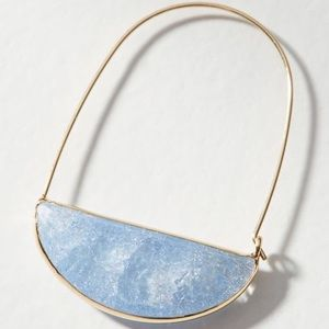 Anthro stone crescent hoop earrings